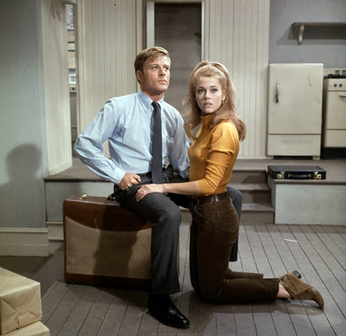 Robert Redford and Jane Fonda in their tiny Barefoot in the Park apartment
