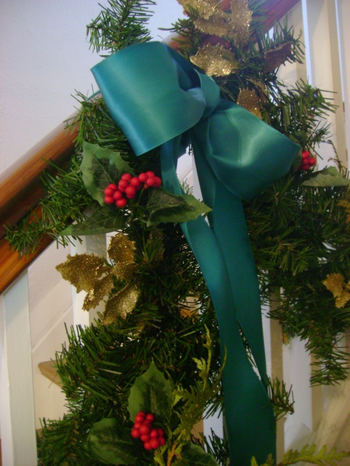 Teal bows are a nice twist on classic red and green