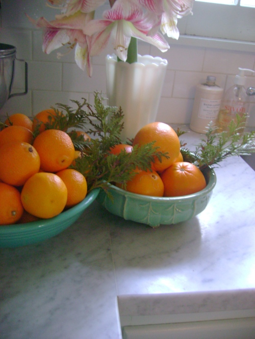 A fiestaware bowl and McCoy bowl both picked up this summer filled with citrus