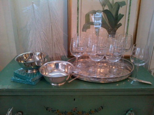 Penney & Co Vintage Silver Gallery Tray, Silver bowls $