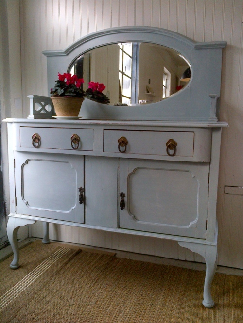 Penney & Co Antique Buffet with Oval Mirror and Reversible Panels $775