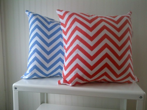 Penney & Co Chevron Cushions in Coral and Blue $30 each