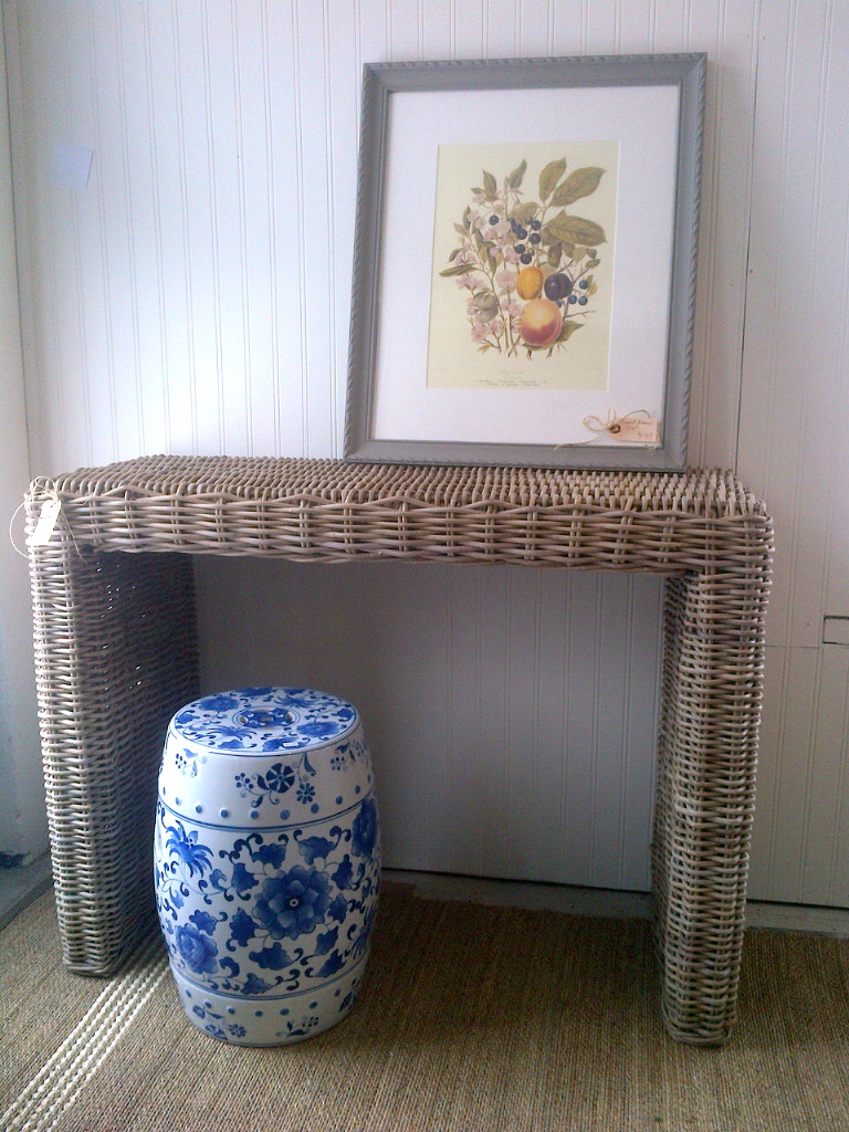 Penney & Co Woven Console/Sofa Table $, Vintage Botanical $